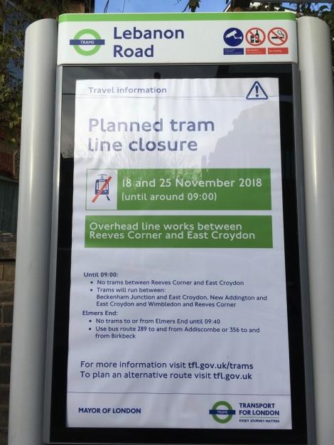 Tram notice