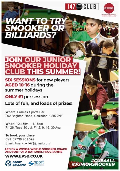 Frames - junior snooker holiday club
